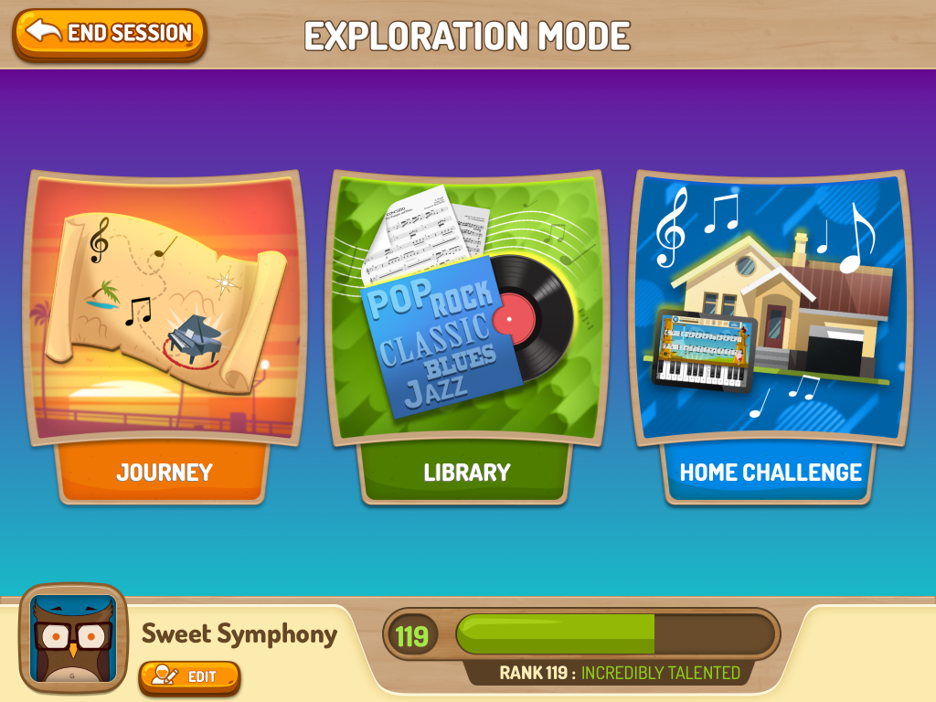 The Piano Maestro homepage allows you to choose between learning through the Journey, exploring lots of new music in the Library or completing homework set by your teacher in Home Challenge